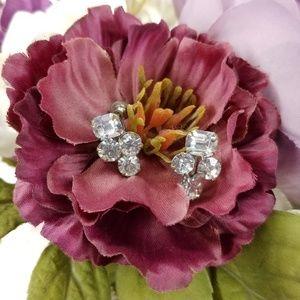 Vintage Crystal Stone Clip Earrings